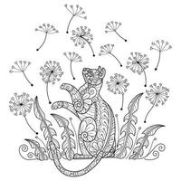kat en bloem op witte achtergrond. hand getrokken schets voor volwassen kleurboek vector