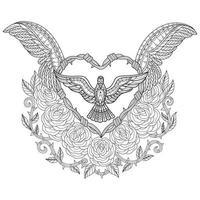 vogel op witte achtergrond. hand getrokken schets voor volwassen kleurboek vector