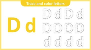 traceer en kleur de letters d vector