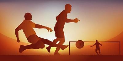 voetbalwedstrijd, aan te pakken vector