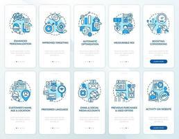 slimme inhoud blauwe onboarding mobiele app paginascherm met concepten ingesteld vector
