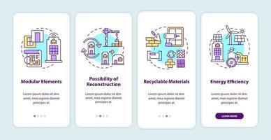 toekomstige eis voor kantoorgebouw onboarding mobiele app-paginascherm met concepten vector