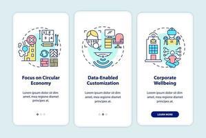 toekomstige kantoorontwerptrends onboarding mobiele app-paginascherm met concepten vector