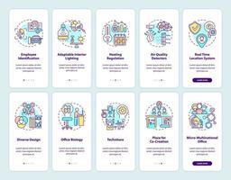 slimme kantoorcreatie onboarding mobiele app-paginascherm met ingestelde concepten vector
