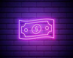 bundel van neonreclame voor dollarbiljetten. geld, financiën en bankwezenconcept vector