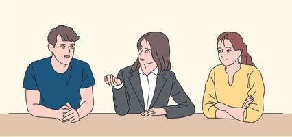 mensen zitten bij elkaar en voeren een gesprek. hand getrokken stijl vector ontwerp illustraties.