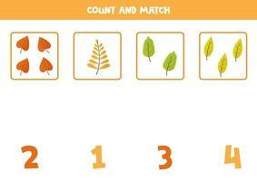 herfstbladeren tellen. wiskundig spel voor kleuters. vector