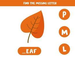 zoek de ontbrekende letter en schrijf deze op. schattig herfstblad. vector