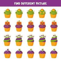 vind verschillende halloween cupcake in elke rij vector