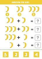 toevoeging met cartoonbananen. wiskundig spel voor kinderen.