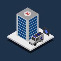 isometrisch ziekenhuis op achtergrond vector