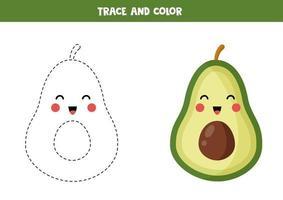 trace en kleur schattige kawaii avocado. handschriftoefening voor kinderen. vector