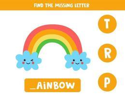 vind ontbrekende brief met schattige regenboog. spelling werkblad. vector