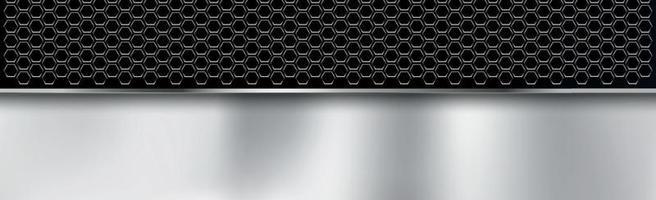 zwart en zilver geperforeerd ijzer met witte reflecties vector