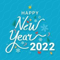 decoratieve belettering gelukkig nieuw jaar 2022 vector