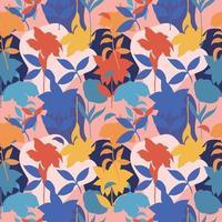 abstract naadloos patroon met kleurrijke silhouetbladeren en bloemenachtergrond