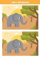 zoek vijf verschillen tussen de afbeeldingen. vector