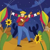 een man die 's nachts gitaar speelt voor festa junina vector