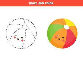 handschriftoefening met schattige kawaiibal. trace en kleur. vector