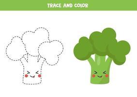 trace en kleur schattige kawaii broccoli. handschrift praktijk. vector
