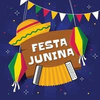 platte festa junina achtergrond vector