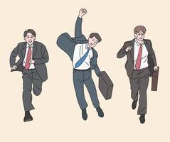 mannen in pakken rennen opgewonden. hand getrokken stijl vector ontwerp illustraties.