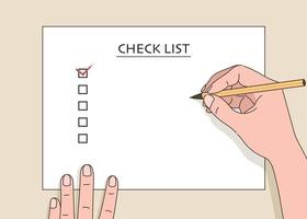 een hand die een checklist op wit papier schrijft. hand getrokken stijl vector ontwerp illustraties.