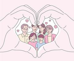 handen die een hartvorm maken met familie erin. hand getrokken stijl vector ontwerp illustraties.