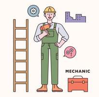 ingenieur karakter en pictogramserie. platte ontwerpstijl minimale vectorillustratie. vector