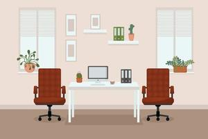 comfortabel kantoor met ramen, bureaustoelen, bureau, bloemen voor de ramen, computer en koffie vector