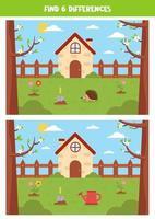vind 6 verschillen tussen lentelandschappen. schattige tuin. vector