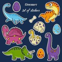 schattige dinosaurussen hand getrokken vector stickers in cartoon stijl. dino platte cliparts. vector illustratie.