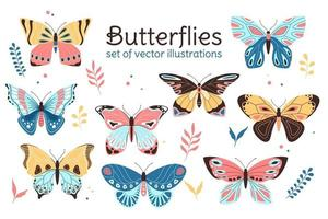 vector set butterly illustraties, platte decoratieve kinderstijl