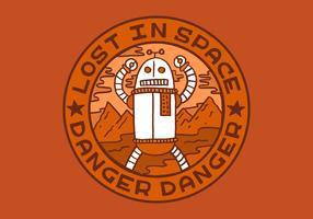 robot gevaar verdienste badge vector