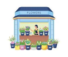 bloemist in bloemenkiosk egale kleur vector gedetailleerd karakter