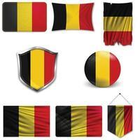 set van de nationale vlag van belgië in verschillende ontwerpen op een witte achtergrond. realistische vectorillustratie. vector