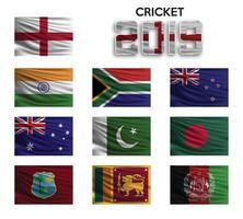 cricket beker. set van de nationale vlag van team op witte achtergrond. vector illustratie.