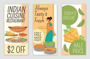 Indiase keuken restaurant folders platte vector sjablonen set. speciale aanbieding, afdrukbare lay-out voor folder voor halve prijs. gratis sauscoupon reclame verticale webbanner, verhalen op sociale media