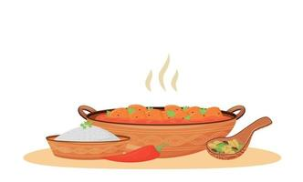 hete boter kip cartoon vectorillustratie. traditioneel Indiaas eten, vlees in gekruide tomatensaus egale kleur object. restaurant maaltijd, geserveerd makhani kip geïsoleerd op een witte achtergrond vector