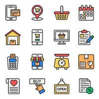 winkelen en handel pictogramserie vector