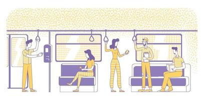 e-tickets kopen platte silhouet vectorillustratie. mensen in elektrische trein in de voorsteden schetsen tekens op witte achtergrond. nfc tech, elektronische betalingsservice zonder contant geld eenvoudige stijltekening vector