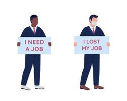 Afro-Amerikaanse, blanke mannen op zoek naar werk egale kleur vector gezichtsloze tekenset