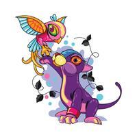 Nieuwe Skool Tattoos Illustratie Leuke kat Pak de vogel