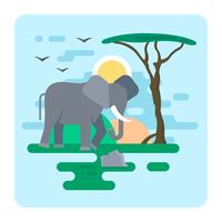 Platte olifant illustratie vector