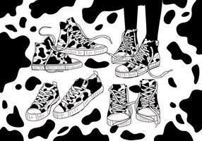 Koe print schoenen Vector