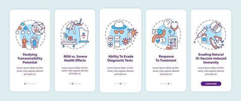 virusresultaten onboarding mobiele app-paginascherm met concepten vector