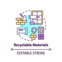 recyclebare materialen concept pictogram vector