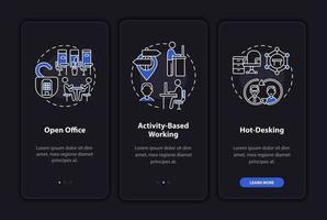 toekomstige werkplekomgevingen onboarding mobiele app-paginascherm met concepten vector