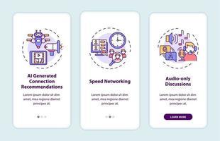 virtuele evenementen voor netwerken onboarding mobiele app-paginascherm met concepten vector