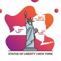 Vlakke het Oriëntatiepuntkaart van Verenigde Staten met Gradiënt Vectorillustratie Als achtergrond
